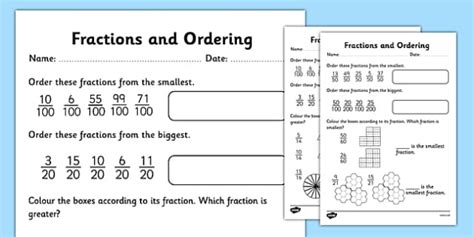 Fractions And Ordering Activity Sheet  Fractions, Ordering