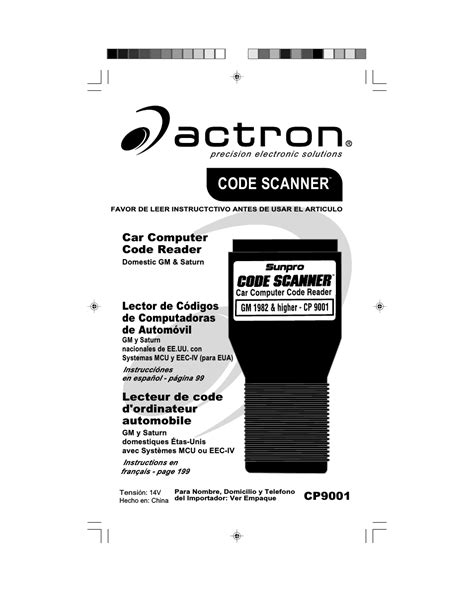 actron gm code scanner cp user manual  pages