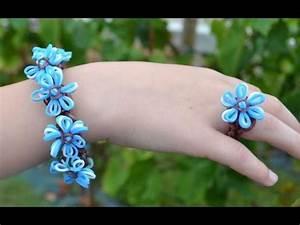 Bracelet Avec Elastique : bracelet et bague lastique avec fleur bleuets flower rainbow loom bracelet and ring youtube ~ Melissatoandfro.com Idées de Décoration