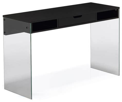 meuble bureau verre bureau noir avec pied en verre et tiroir moderne