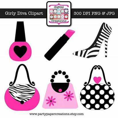 Clipart Purse Girly Pink Diva Graphic Makeup