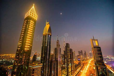 Panorama Of Night Dubai During Sunset Editorial Image ...