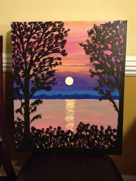 painted canvas ideas  christmas sunset canvas