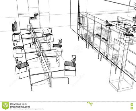 le bureau moderne le croquis moderne de bureau illustration stock