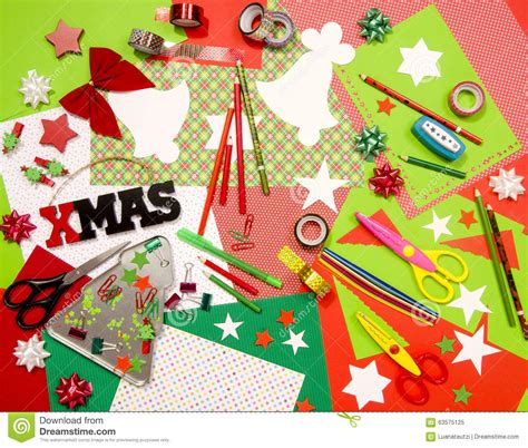 arts and craft supplies for christmas stock photo image
