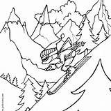 Coloring Pages Snowboarding sketch template