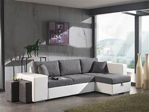 canape d39angle convertible avec pouf en tissu gris pu With tapis ethnique avec petit canapé d angle gris