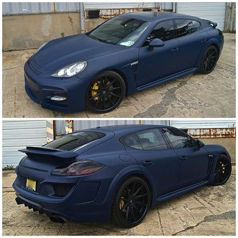 matte blue porsche wald black bison porsche panamera wrapped in 3m matte blue