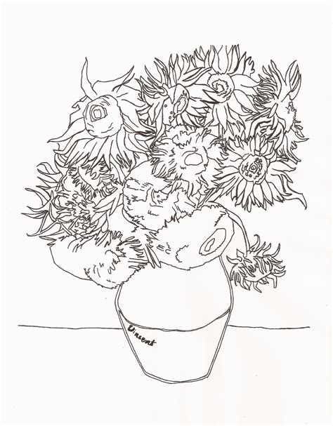 van gogh sunflower coloring pages coloring page