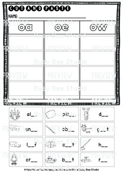 Long Vowel Teams Sorts Oaoeow  Cut And Paste Worksheets By Busy Bee Studio
