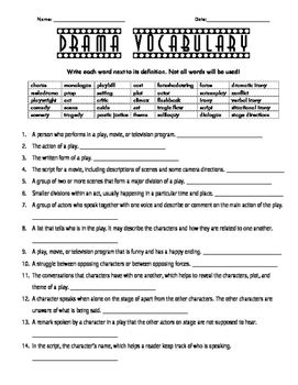 drama vocabulary fill in the blanks worksheet by