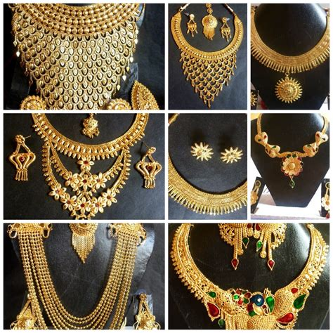 indian  gold plated wedding necklace earrings jewelry