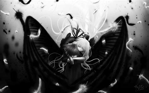 anime girl  black  white wallpapers hd desktop