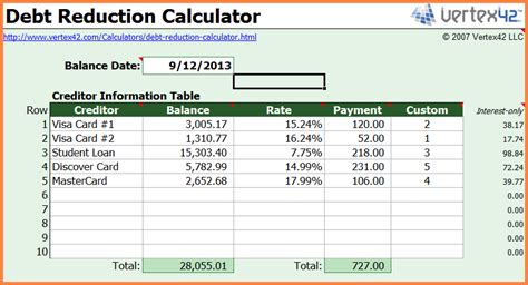 debt reduction spreadsheet excel spreadsheets group
