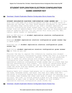 Download student exploration electron configuration gizmo answer key student exploration electron configuration pdf 2018 projects. Fillable Online Student Exploration Electron Configuration Gizmo Answer Key. Student Exploration ...