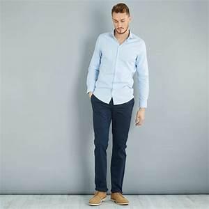Pantalon Bleu Marine Homme : pantalon chino regular pur coton l36 1m90 homme bleu ~ Melissatoandfro.com Idées de Décoration