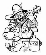 Hillbilly Drawing Redneck Drawings Cartoon Banjo Ben Bw Characters Sketches Moonshine Pencil Guitar Wood Vector Tattoo Box Burning Character Funny sketch template