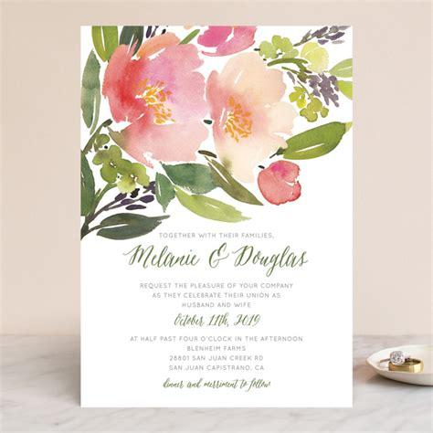 watercolor floral wedding invitations  yao cheng design
