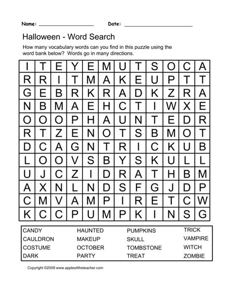 printable halloween word search puzzle spooky halloween