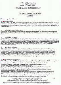 performer contract template lil wayne backstage rider the smoking gun