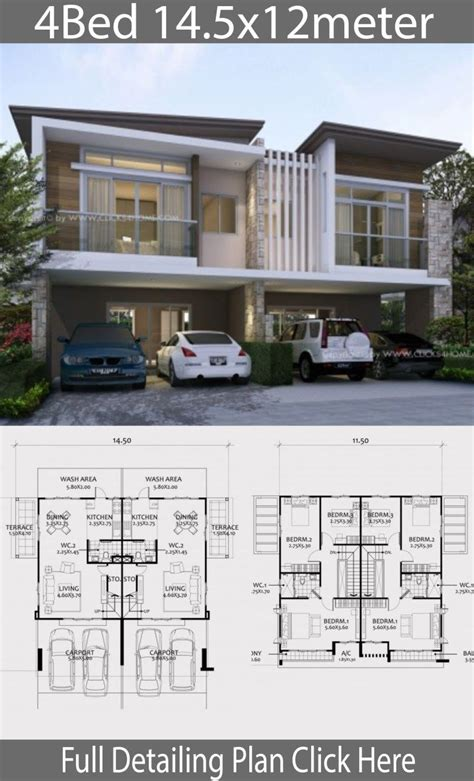 Twin house design plan 14 5x12m with 6 bedrooms House
