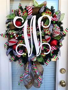 christmas wreath with large single vine monogram letter With letter christmas wreath