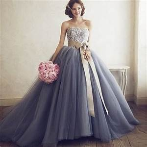 Custom ball gown grey wedding dresses 2015 strapless for Grey lace wedding dress
