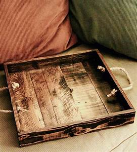 Small Reclaimed Wood Serving Tray with Rope Handles