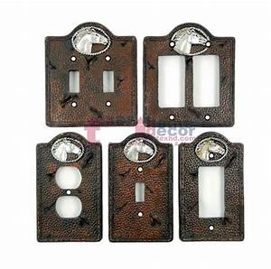 Western, Horse, Light, Switch, Plate, Covers, Stitched, Faux, Leather, Look, Silver, Rope