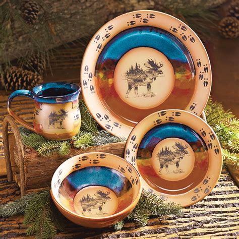 dinnerware moose pottery pcs scenic yimg