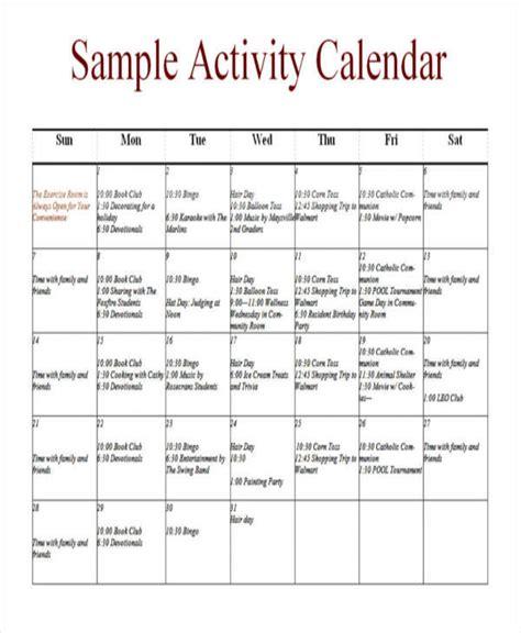 activity calendar template 10 activity calendar templates free sle exle format sle templates