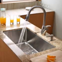 kraus khu10030kpf2120sd20 30 quot undermount single bowl stainless steel kitchen sink with 16