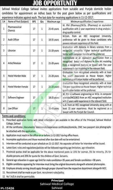 sahiwal college november 2017 non teaching staff in pakistan