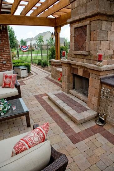 unilock olde greenwich cobble olde greenwich cobble patio with fireplace photos