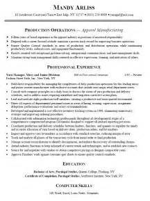 Production Resume Template by Resume Sle Production Manager Augustais