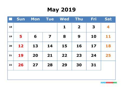 Printable Calendar 2019 May with Week Number - Free ...