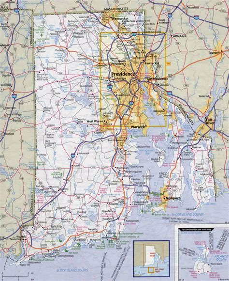 large detailed roads  highways map  rhode island