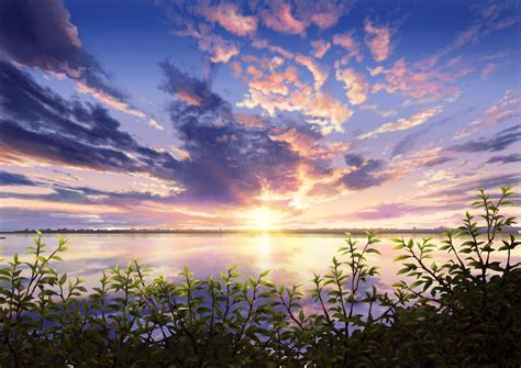 anime scenery sunset leaves nature wallpaper anime