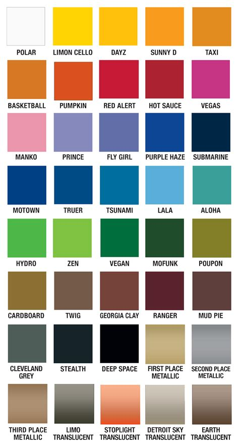 Spray Paint Color Chart  Awesome Spray Paint Pylox Colour