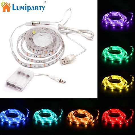 lumiparty led rgb dual purpose l connect with usb battery box for cabinet corridor