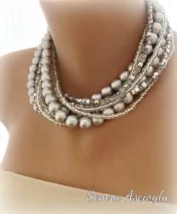 Handmade Chunky Bridal Silver Pearl Necklace with sparkle gray crystal