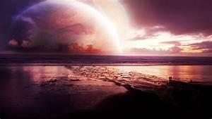 Cosmos Sunset Sea, HD Digital Universe, 4k Wallpapers