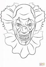 Coloring Clown Scary Printable Drawing sketch template