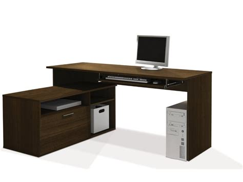 long wooden computer desk l shaped wooden computer desk with cabinet decofurnish