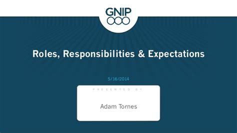 roles responsibilities expectations