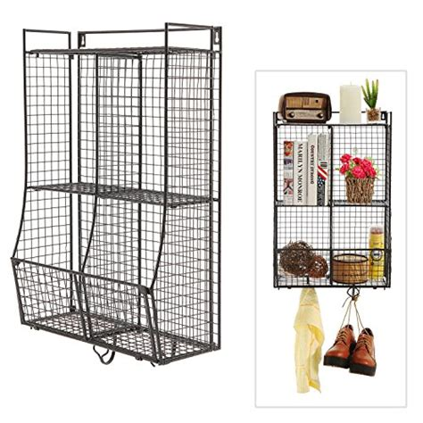 wire hanging shelf wall mounted collapsible metal wire mesh storage basket