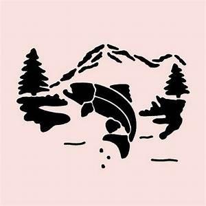 Trout, Stencil, Fish, Mountain, Pine, Tree, Trees, Stencils, River, Template, New, 7, U0026quot, X, 5, U0026quot
