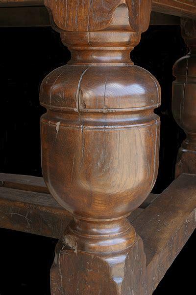 bulbous cup cover leg detail  oak refectory table
