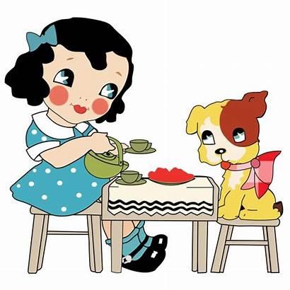 Dog Tea Party Clipart Puppy Child Cartoon