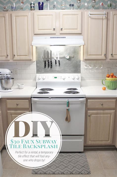 faux subway tile painted backsplash tutorial